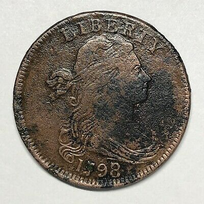 1798/7 Draped Bust Large Cent 1c S-152 Overdate Variety. Lots of Detail!