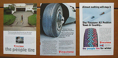 (3) 1970 1972 Firestone Tire ads '70 '72, National Geographic, 6.5 x 10, Nat Geo