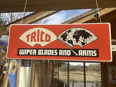 1950/60s TRICO WIPER BLADES AND ARMS illuminated garage shop dealer window sign