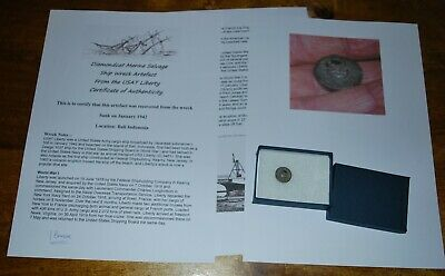 Shipwreck Button from USAT Liberty sank 1942 in a presentation box, & signed COA