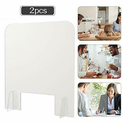 Pack of 2 Acrylic Shields- 15.7 × 18.5 Inch Clear Freestanding Counter Protec...