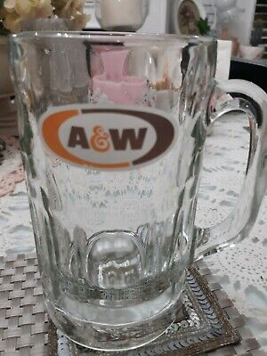 -A&W Root Beer Heavy Vintage Glass Mugs - 6""