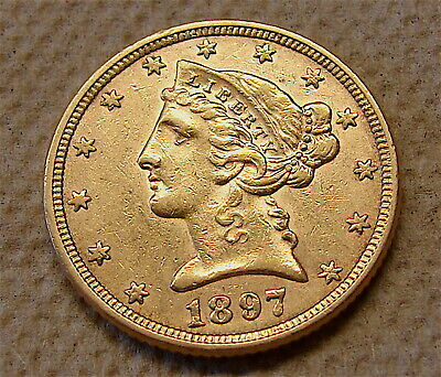 1897---Gold Liberty Head Coin ---Half Eagle Gold Coin---3 day auction