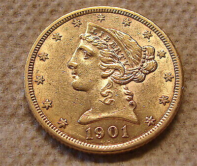 1901-S--Gold Liberty Head Coin ---Half Eagle Gold Coin---3 day auction