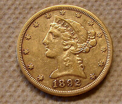 1892-S--Gold Liberty Head Coin ---Half Eagle Gold Coin---3 day auction