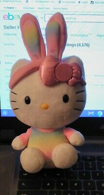 Ty Hello Kitty Easter Beanie Babies Plush Rainbow Bunny Ears & Shirt 2013 EUC
