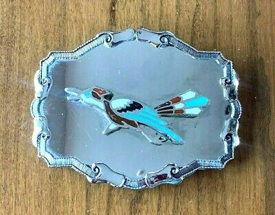1970s Roadrunner Belt Buckle with Turquoise and Coral Inlays
