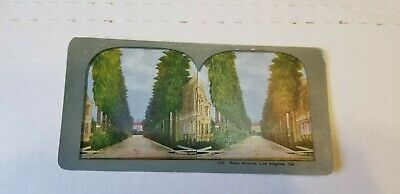Antique Vtg 1900s W Lake Park Los Angels California Stereoview Photo Card Nice