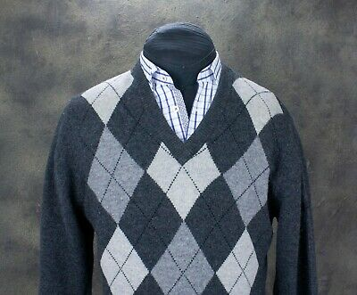Mens Pringle Golf V-Neck Agryle Long Sleeve Jumper Knit Sweater 100% Wool Size L