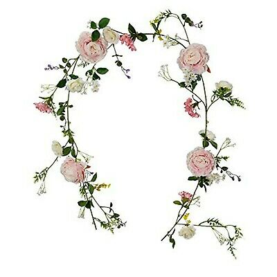 FLCSIed Artificial Peony Wreath Handmade Flower Wreath with Eucalyptus Leaves Summer Spring Grapevine Wreaths Decoration for Door Farmhouse Party Wedding Home Wall Hanging Decor