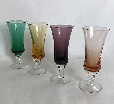 Mid century hammered stemmed glass cups set