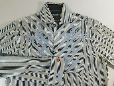 English Laundry Mens Long Sleeve Dress Casual Shirt Size S Hand Sewn Embroidery