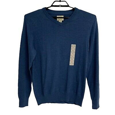 St John/'s Bay Homme à manches longues col V en coton à rayures Pull-over Sweater