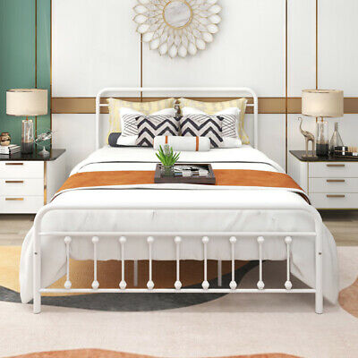 Dumee Metal Bed Frame Queen Size, Metal Bed Frame Queen Size With Vintage Headboard And Footboard Platform Base Wr