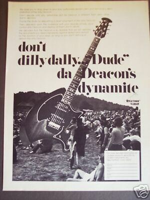 1974 Rock Festival photo OVATION Deacon Guitar print ad
