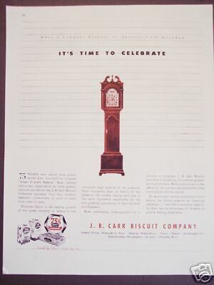 1945 vintage Ad J. B. CARR Biscuit Co 75th year