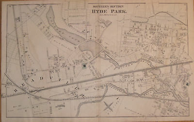 1876 Antique Map South Hyde Park Boston Mass MA Old Original