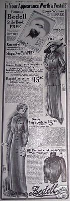 1912 FASHION  Bedell Free Style Book Offer vintage ad