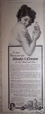 1917 vintage Ad HINDS HAND CREAM Art Signed Brett