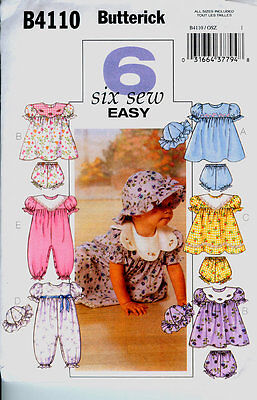 Reduced!!  BUTTERICK 4110 INFANTS' DRESS, PANTIES, JUMPSUIT & HAT
