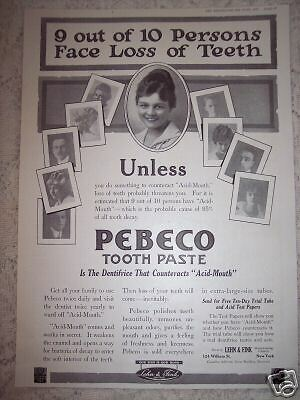 1917 original AD PEBECO Tooth Paste