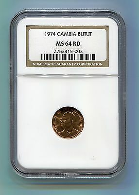 1974 GAMBIA BUTUT MS 64 RD RAINBOW TONED NGC COIN