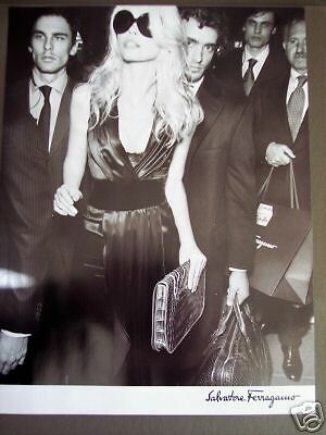 Claudia Schiffer in Ferragamo Dress  Handbag fashion ad