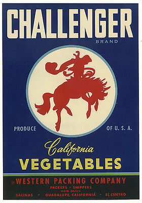 *Original* CHALLENGER Cowboy WESTERN Horse BUCKING BRONCO Vegetable Crate Label