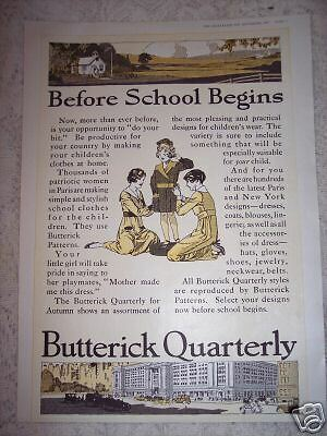 1917 BUTTERICK PATTERNS Fashion for School Vintage Ad