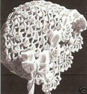 Vintage Antique Crochet PATTERN to make Baby Bonnet Cap Hat Lacy Frilly Missy