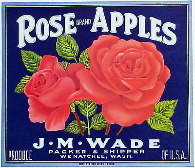 *Original* ROSE BRAND Flower Botanical WENATCHEE Apple Crate Label NOT A COPY!
