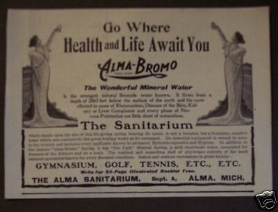 1899 The Alma MI Sanitarium golf tennis Hotel print ad