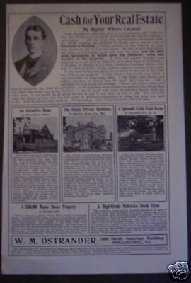 1899 W M Ostrander Real Estate original vintage ad