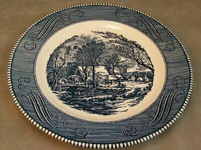 Vintage Royal USA Currier Ives Blue Dinner Plate EXC