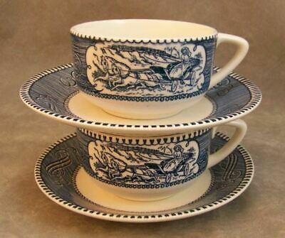 Royal USA Currier Ives Blue White Cup Saucer Set Two