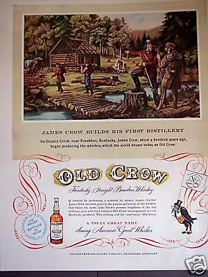 1953 vintage AD James Crow builds 1st Distillery art Old Crow