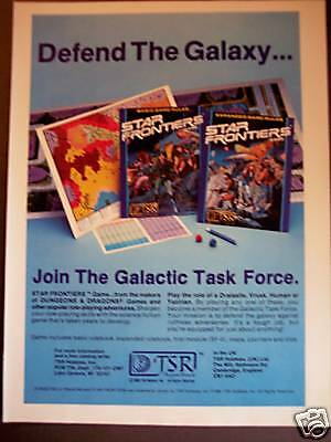 1982 Star Frontiers science fiction Space Game print ad