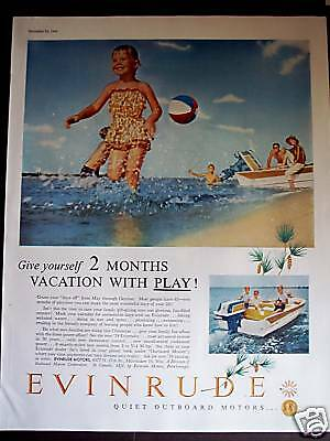 1958 Kids playing photo Evinrude Outboard motors ad