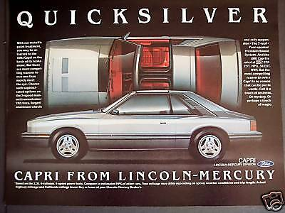 Mercury CAPRI Quicksilver metalic T-roof car Original 1981 AD