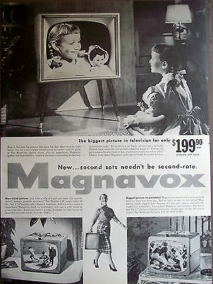 original 1956 vintage Ad girl & doll watching Magnavox TV