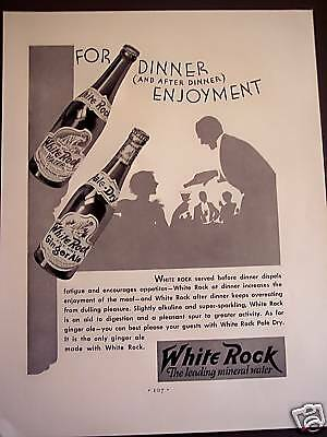 1932 vintage AD White Rock Mineral Water & Ginger Ale