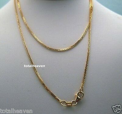 "NEW 16"" Italian Solid 14K Yellow Gold Square Wheat Chain 1.5g Sparkling 1mm"