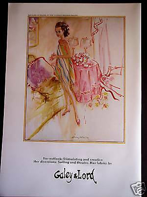 1967 vintage AD Fashion Art by Koehler  Galey & Lord