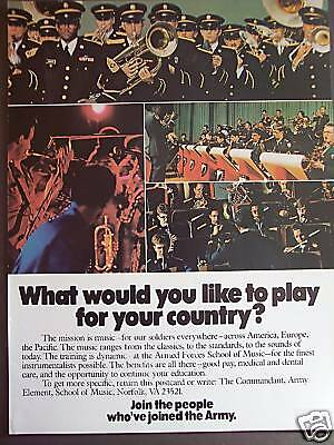 1979 vintage recruitment Ad Play for your Country Army Band
