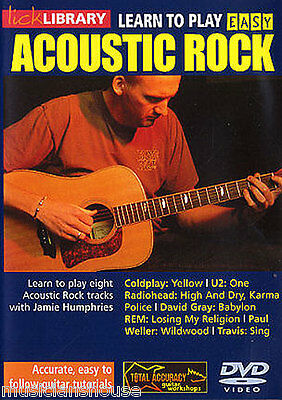 LICK LIBRARY Learn To Play EASY ACOUSTIC ROCK 1 Tutor SONGS Lesson Guitar DVD