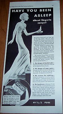 1933 vintage Ad IVORY SNOW SOAP Lady in Lingerie with candle art