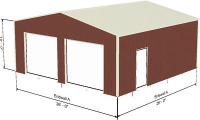 Steel Metal 2-Car Garage Building Kit 576 sq workshop barn shed prefab storage
