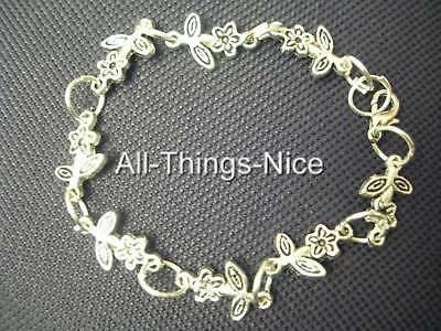 Silver Plated Bracelets CUTE FLOWER Charms WHOLESALE 10