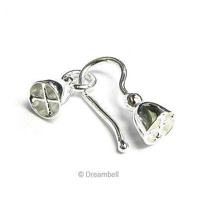 STERLING SILVER beading Cord END CAP Hook and Eye Clasp