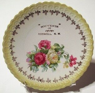 Antique Sterling China Souvenir Plate from ROSWELL NM
